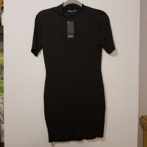 Nasty Gal mockneck bodycon little black minidress